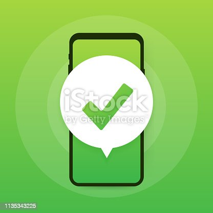 Smartphone with checkmark or tick notification in bubble. Approved choice. Accept or approve checkmark. Vector stock illustration.