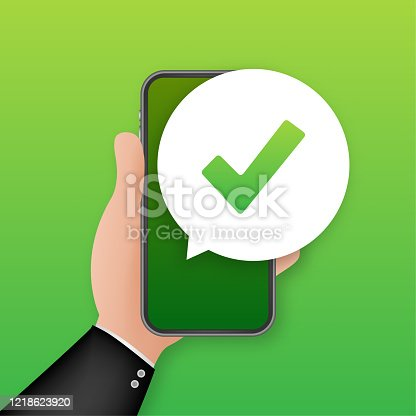 Smartphone with checkmark or tick notification in bubble. Approved choice. Accept or approve checkmark. Vector stock illustration