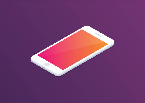 Smartphone with colourful display on dark background. Isometric illustration. Modern design. Isometric illustration. Perfect for web and mobile. iphone stock illustrations