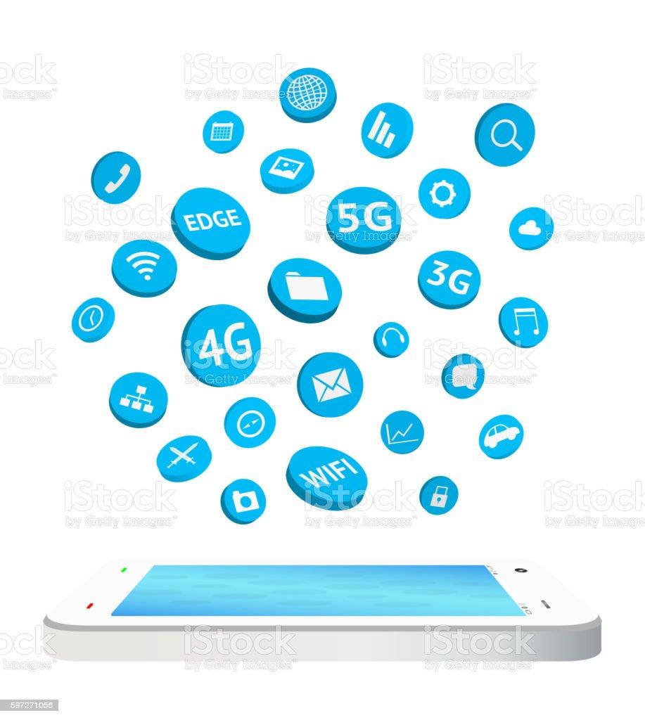 smartphone with connection apps icon floating smartphone with connection apps icon floating – cliparts vectoriels et plus d'images de 3g libre de droits