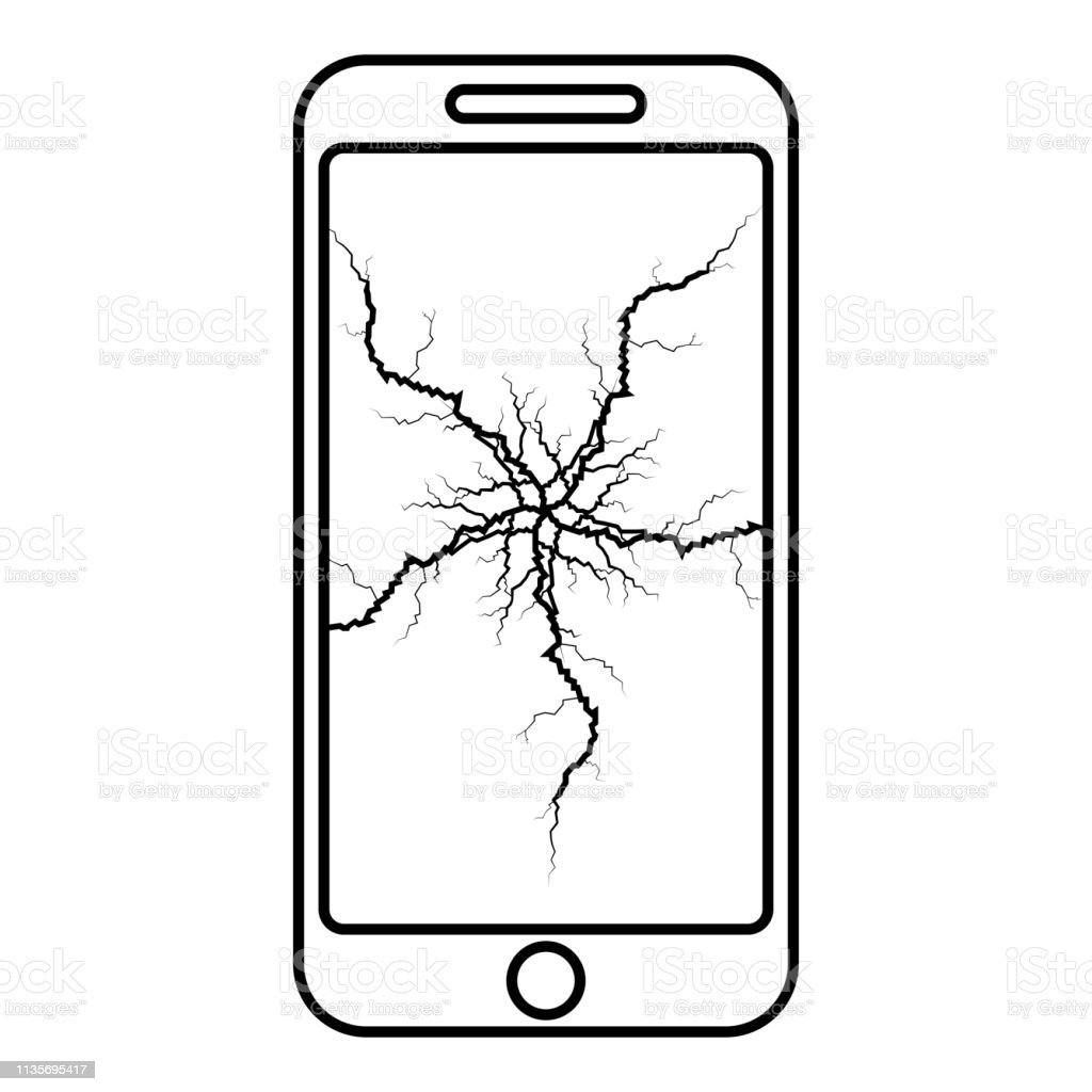 Smartphone Avec Fissure Sur Laffichage Telephone Mobile