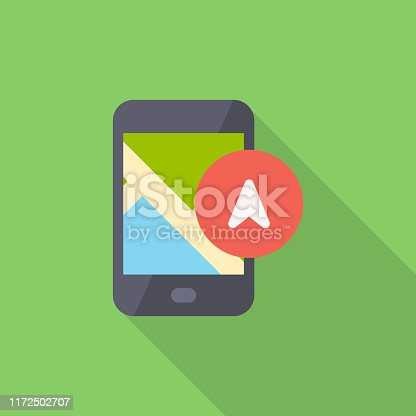 Smartphone with Cursor, NavigationFlat Icon.