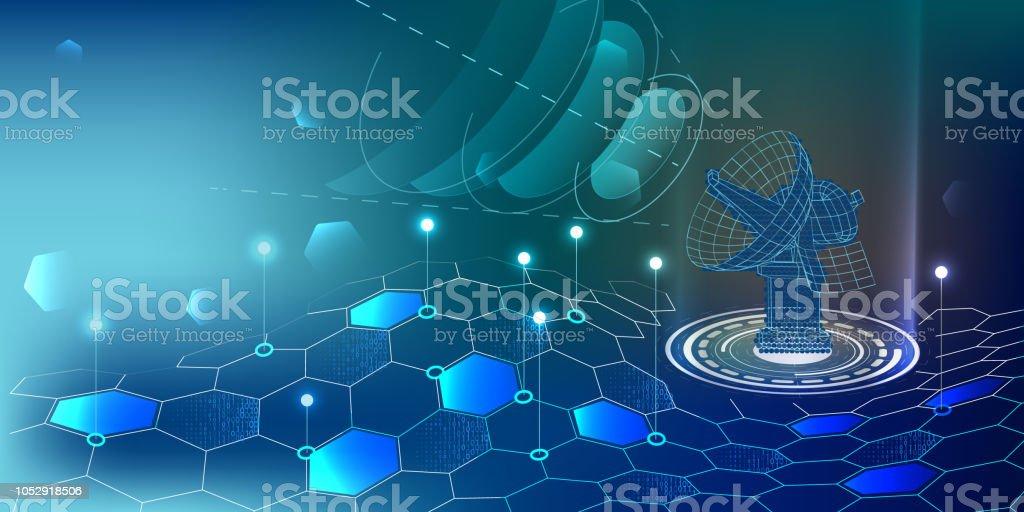 Smartphone with digital logo antenna. Smartphone receives connection digital signal. Internet digital  concept.