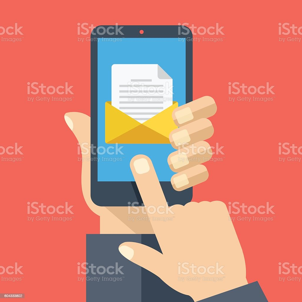 Smartphone with document, envelope on screen. Email concept. Flat design vector art illustration