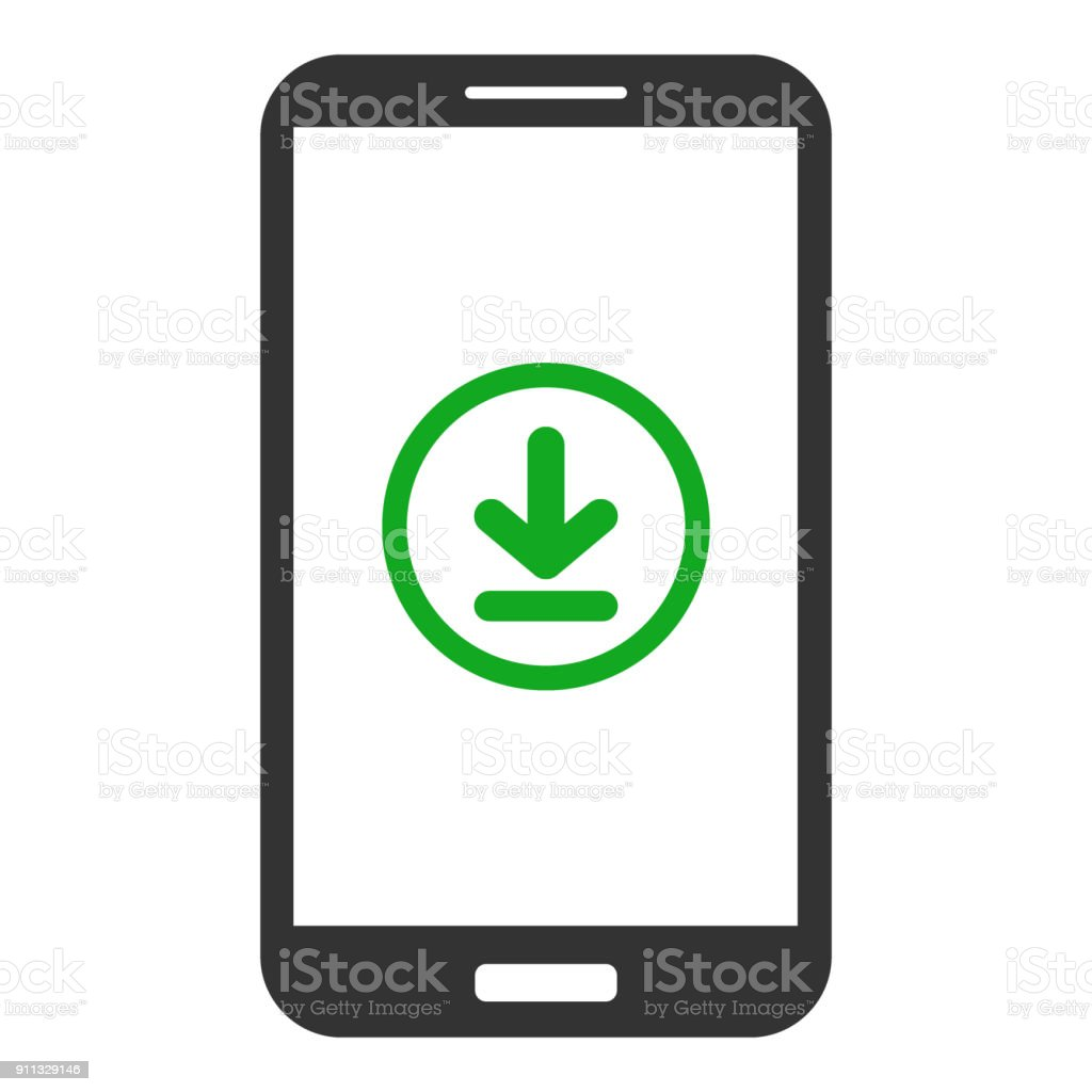 Smartphone with download button on screen. Vector icon vector art illustration