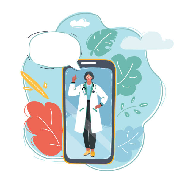 Smartphone with female doctor Cartoon vector illustration of smartphone with female doctor on call and an online consultation. Chatting, speech bubble above. gynecology stock illustrations