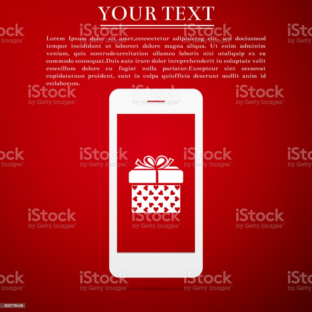 Smartphone With Gift Box And Heart Symbol On The Screen Icon