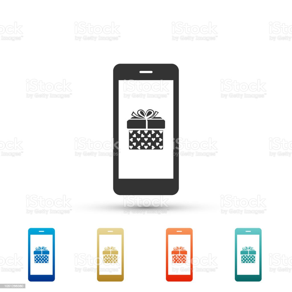 Smartphone With Gift Box And Heart Symbol On The Screen Icon On