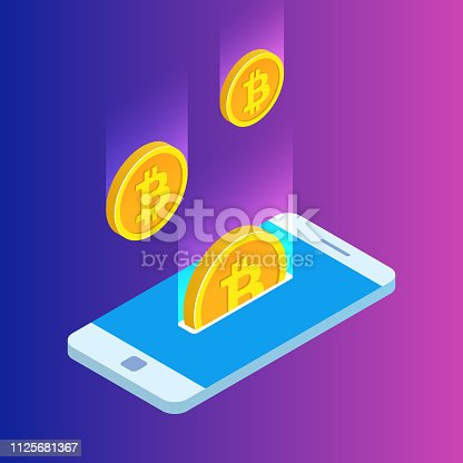 Smartphone with gold rain of bitcoins. Monetary business with bitcoin currency. 3D vector design. Modern illustration isometric style.