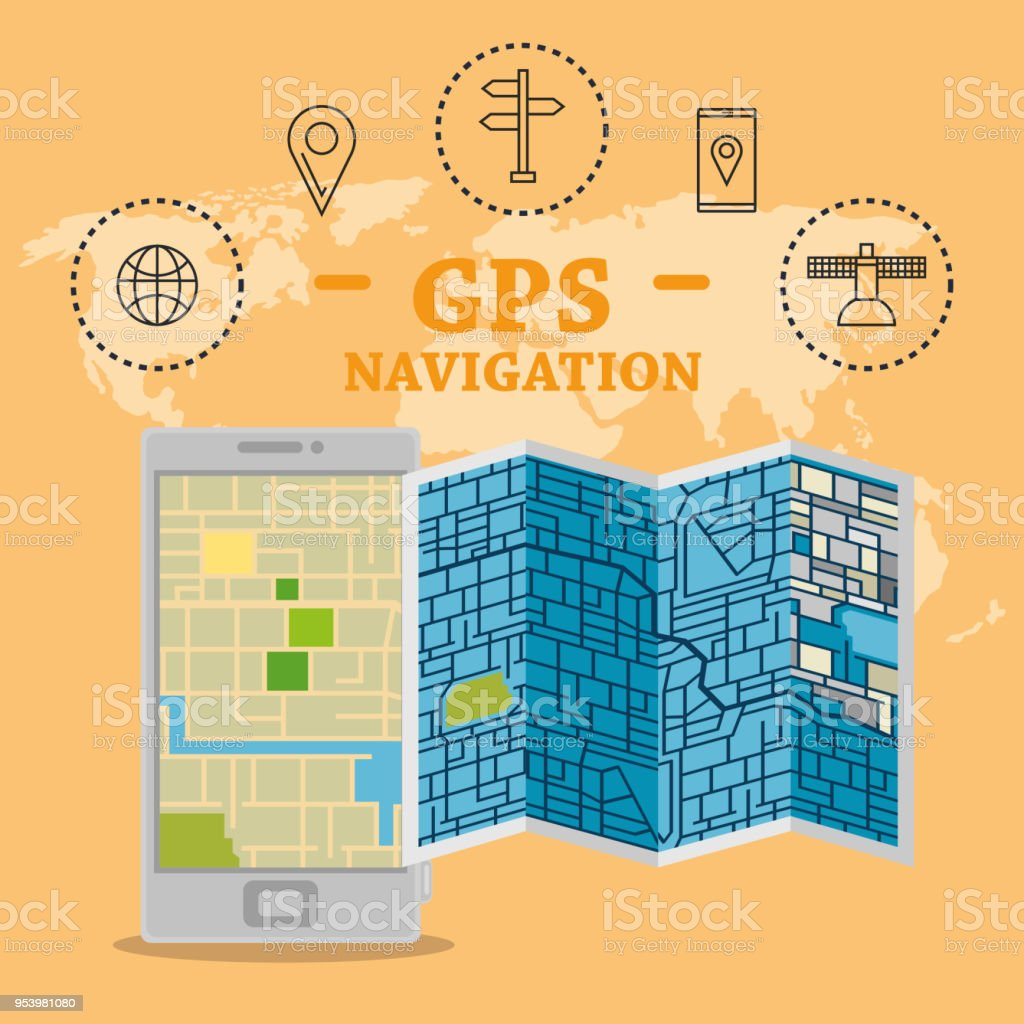 Smartphone With Gps Navigation App Stock Vector Art & More Images of