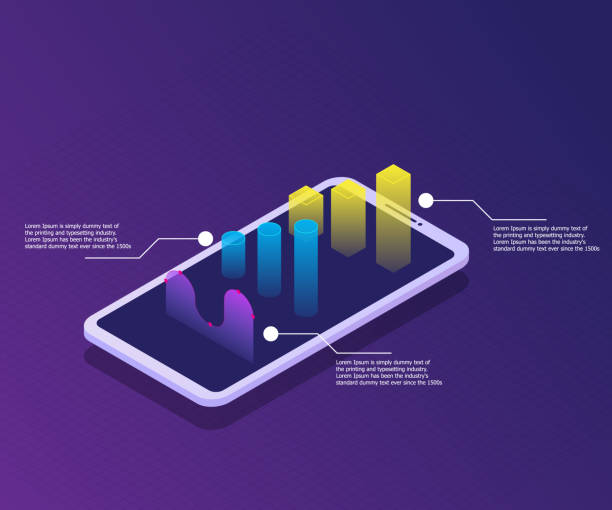 smartphone with graph on screen, business and market analysis vector art illustration