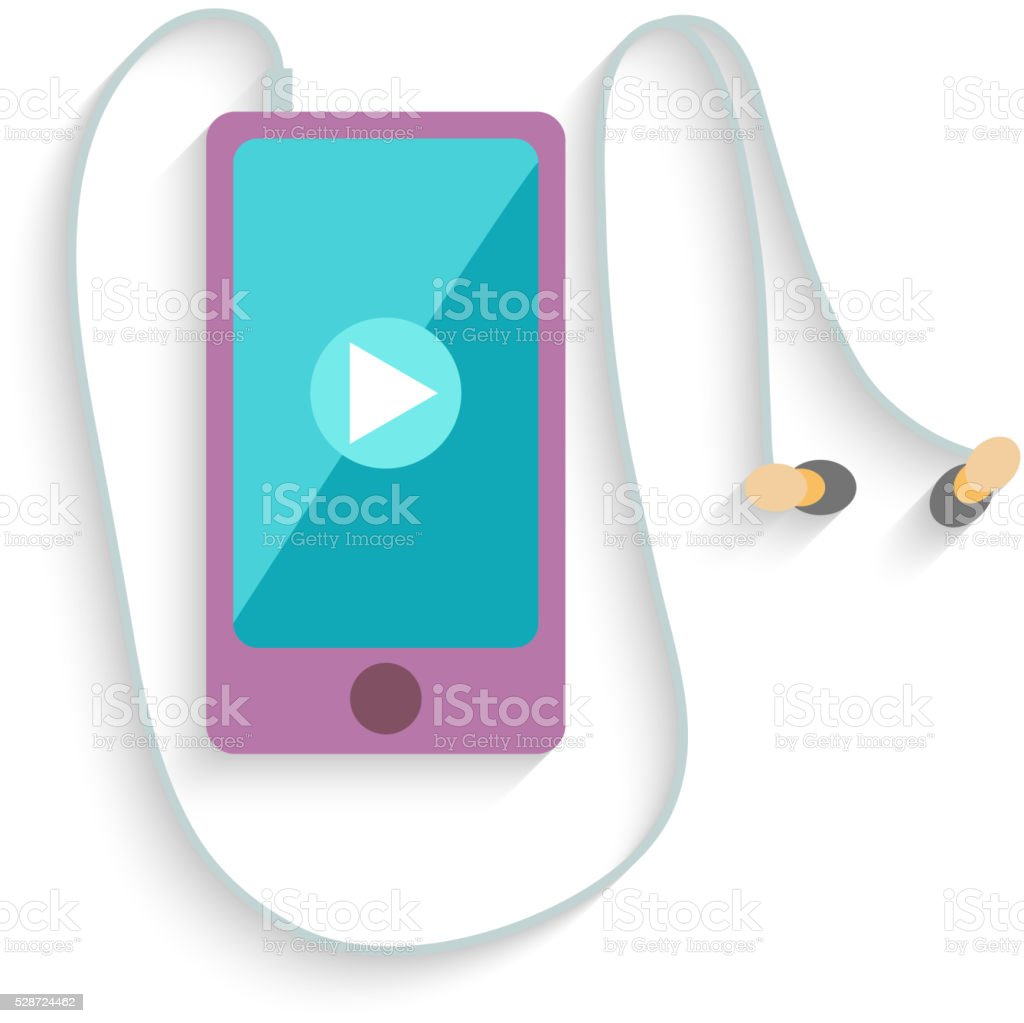 Smartphone with Headphones and Play sign. Flat Design. Vector vector art illustration