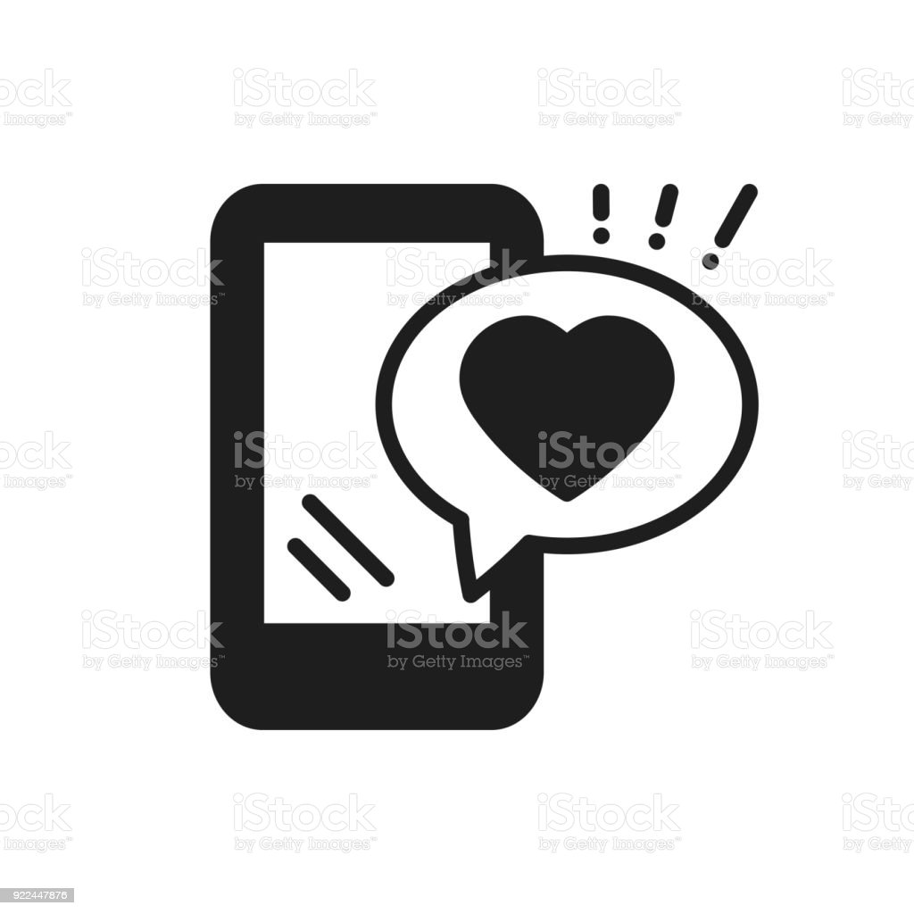Smartphone With Heart Emoji Message On Screen Line Icon Love