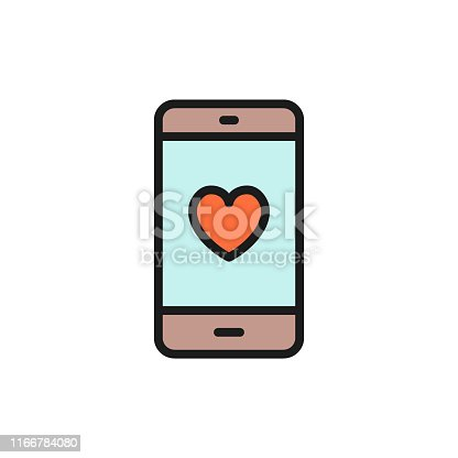 Vector smartphone with heart on display, love message flat color icon. Symbol and sign illustration design. Isolated on white background
