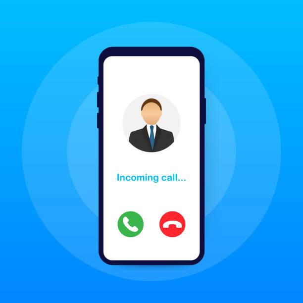 illustrazioni stock, clip art, cartoni animati e icone di tendenza di smartphone with incoming call on display. incoming call. vector illustration. - entrare