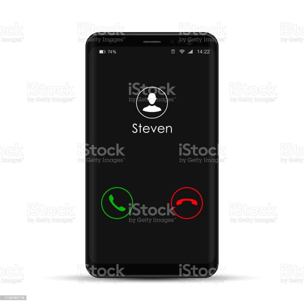 Smartphone com a chamada de entrada na exposição, vector realista ilustração isolado do telefone móvel - Vetor de Aplicação móvel royalty-free