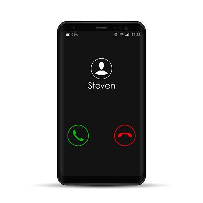 Vetores de Smartphone Com A Chamada De Entrada Na Exposição Vector Realista Ilustração Isolado Do Telefone Móvel e mais imagens de Aplicação móvel