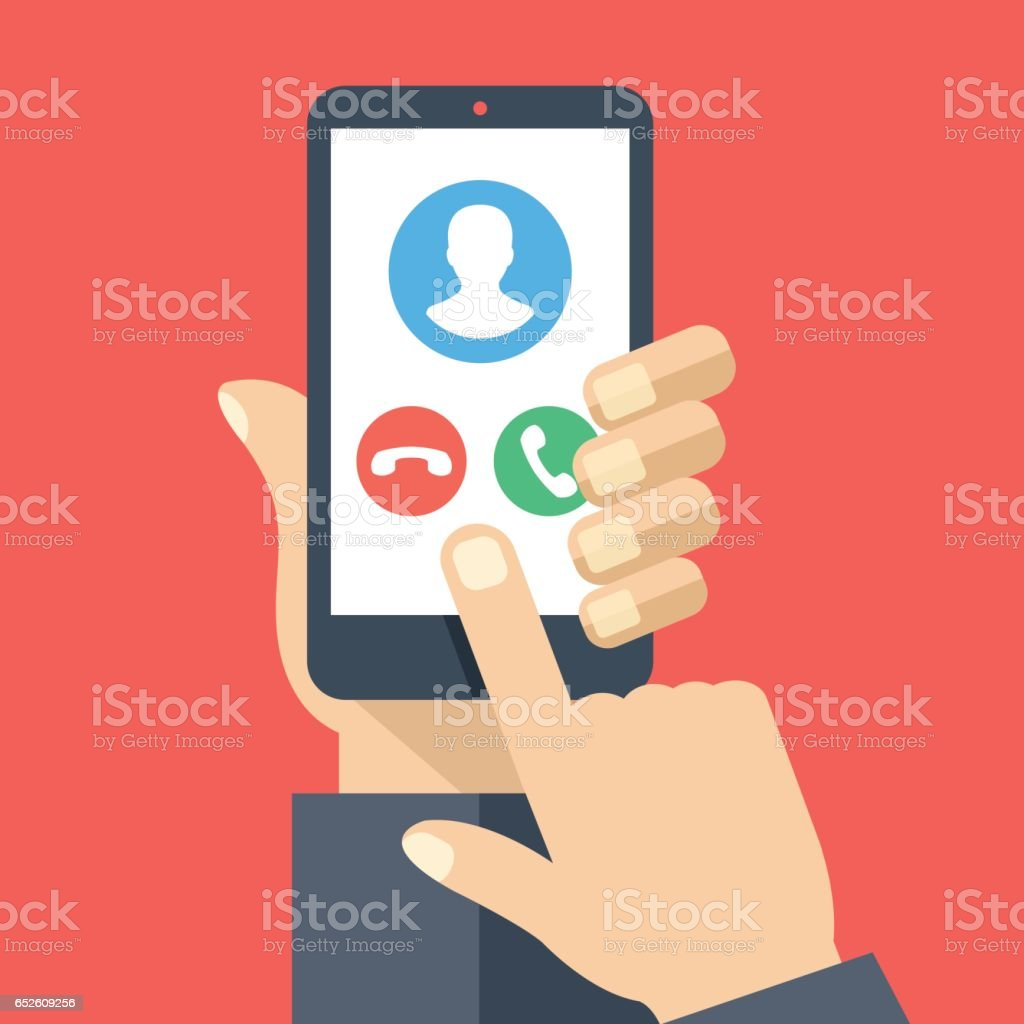 Smartphone with incoming call screen. Hand holding smartphone, finger touching screen. Accept or reject call. Flat design vector illustration vector art illustration