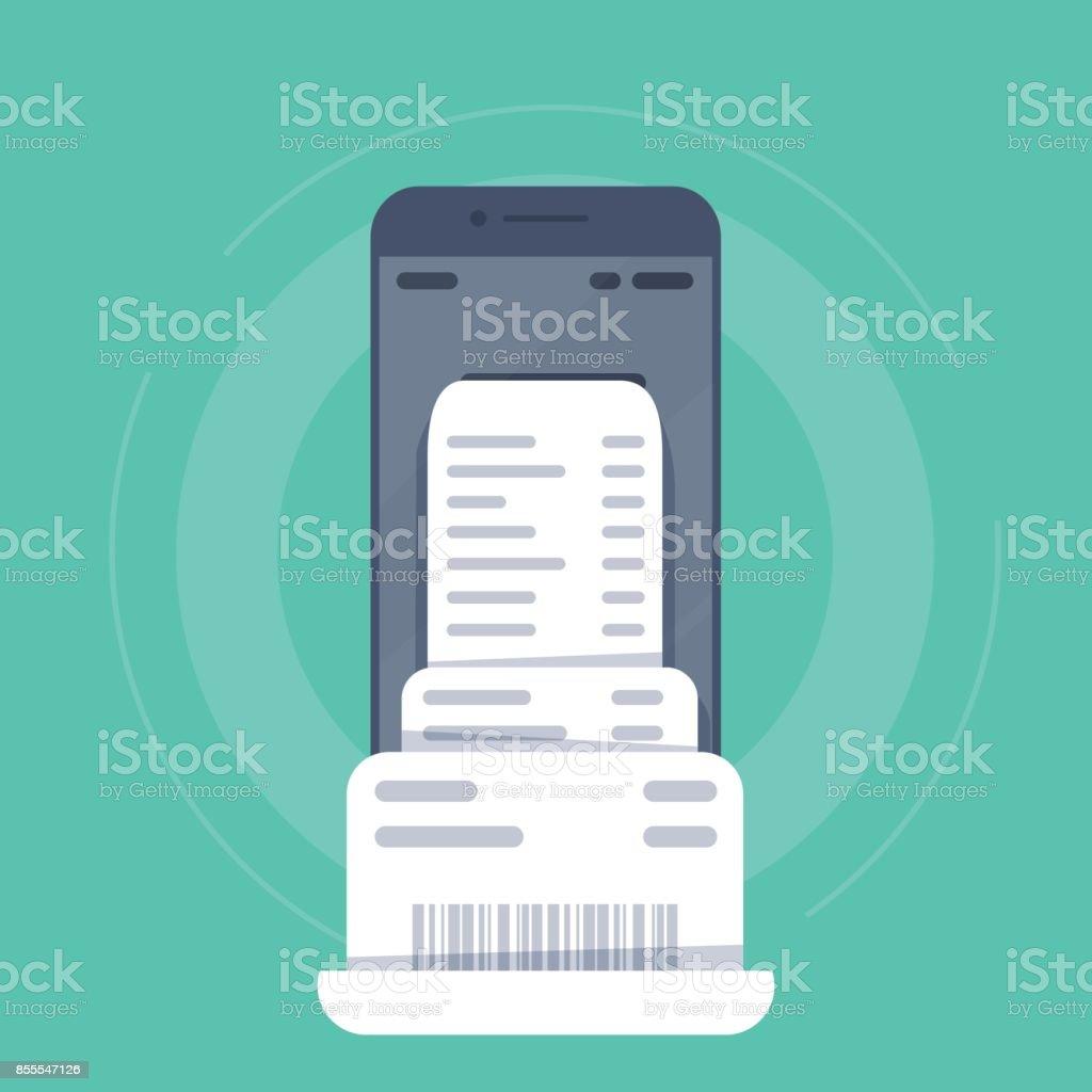Smartphone Mit Rechnung Rechnung Papier Flache Handy Mit Rechnung ...
