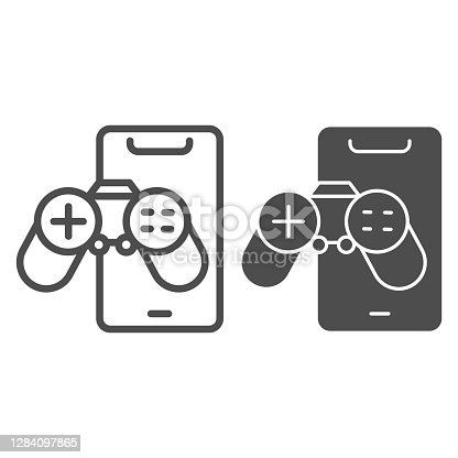 Smartphone with joystick line and solid icon, smartphone review concept, game phone sign on white background, controller and mobile icon in outline style for mobile concept. Vector graphics