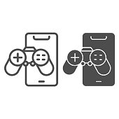 istock Smartphone with joystick line and solid icon, smartphone review concept, game phone sign on white background, controller and mobile icon in outline style for mobile concept. Vector graphics. 1284097865
