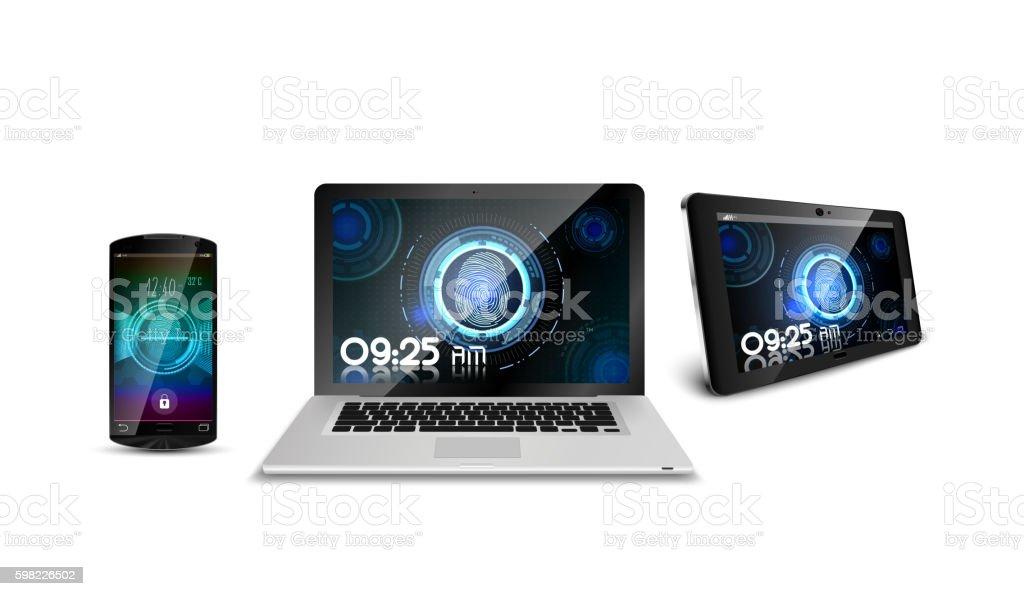 Smartphone with laptop and tablet of concept fingerprint ilustração de smartphone with laptop and tablet of concept fingerprint e mais banco de imagens de caderno de anotação royalty-free