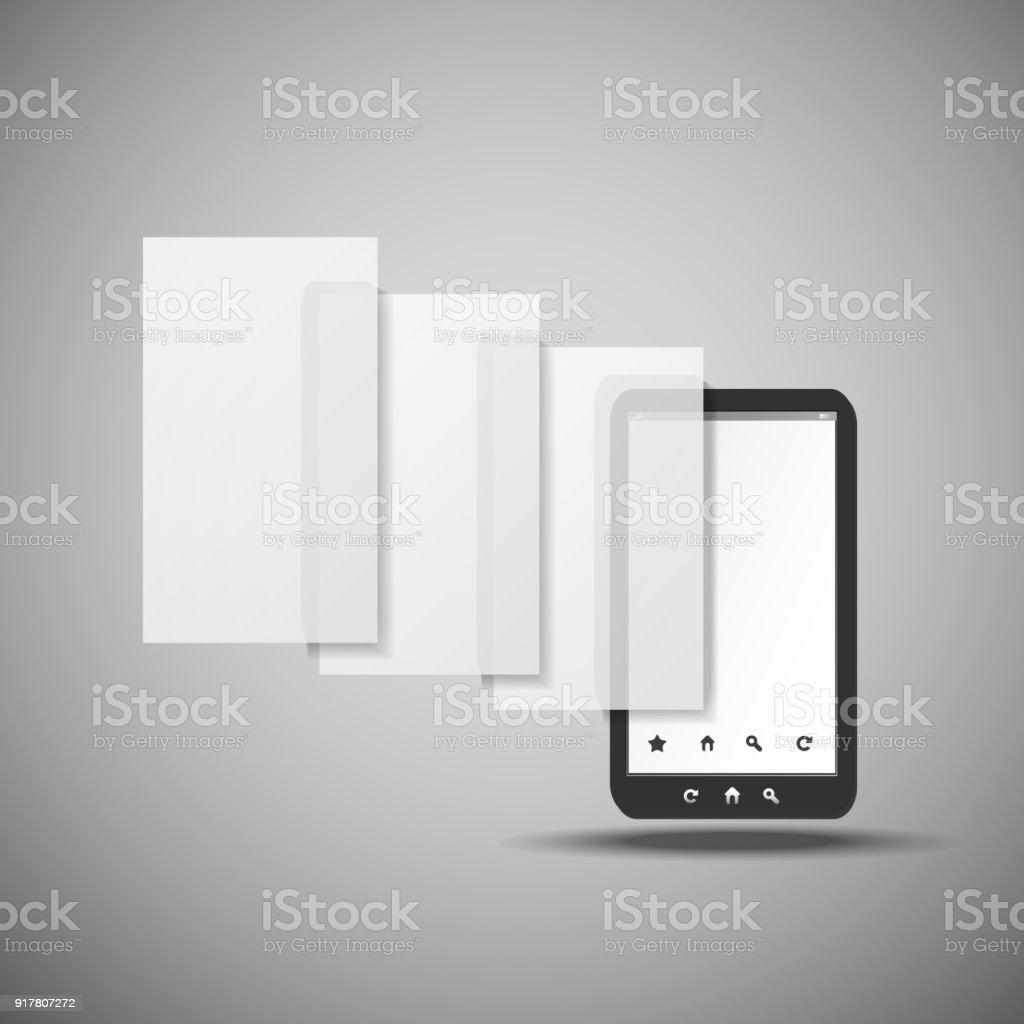 Smartphone mit Schichten - Concept Illustration – Vektorgrafik