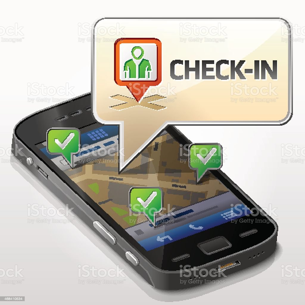 Smartphone with message bubble about check-in vector art illustration
