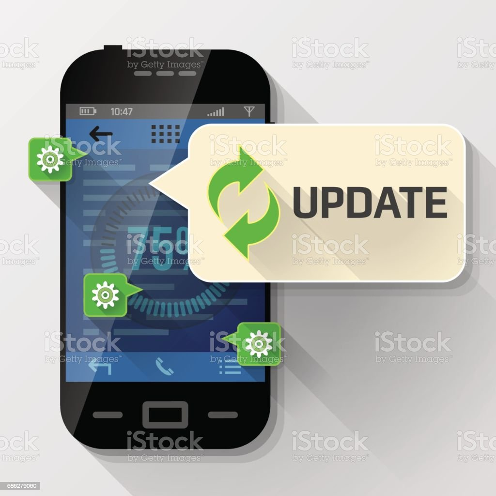Smartphone with message bubble about update vector art illustration