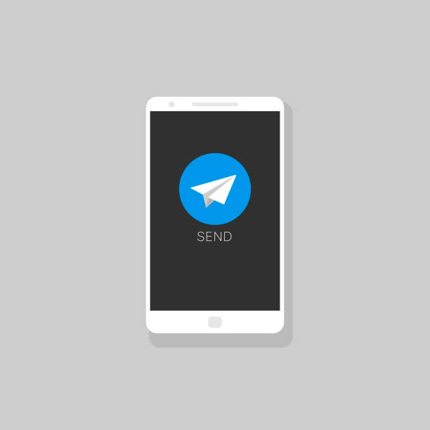 Smartphone with message icon Message icon template. Phone with round chat message icon, telegram icon telegram stock illustrations