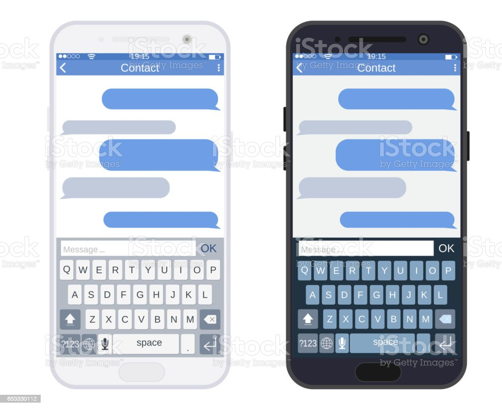 Smartphone with messaging sms app, vector art illustration