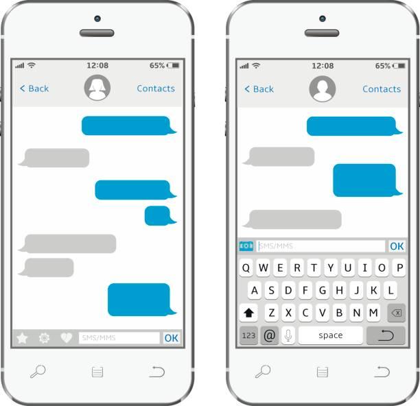 Smartphone mit messaging Sms app – Vektorgrafik