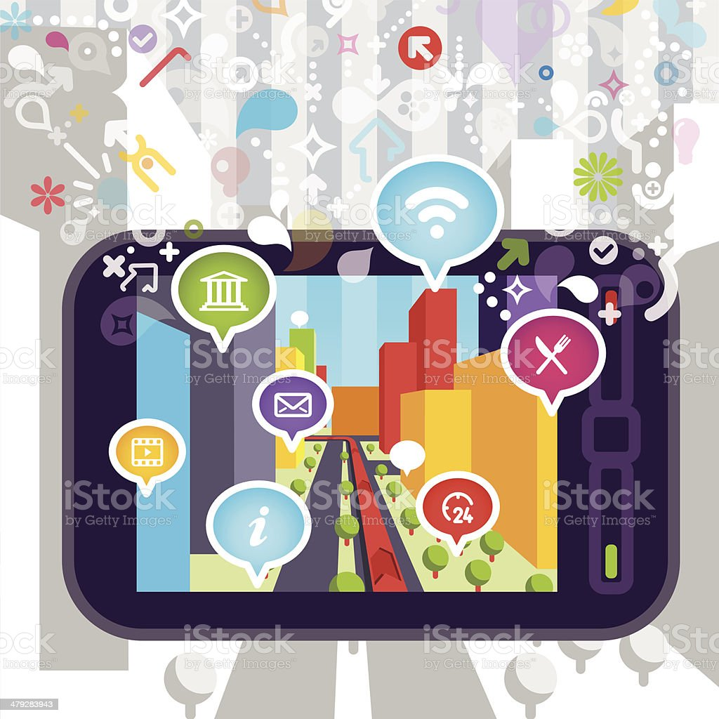 Smartphone with Navigation and Augmented Reality vector art illustration
