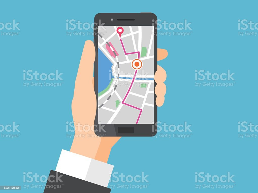 Smartphone with Navigation vector art illustration