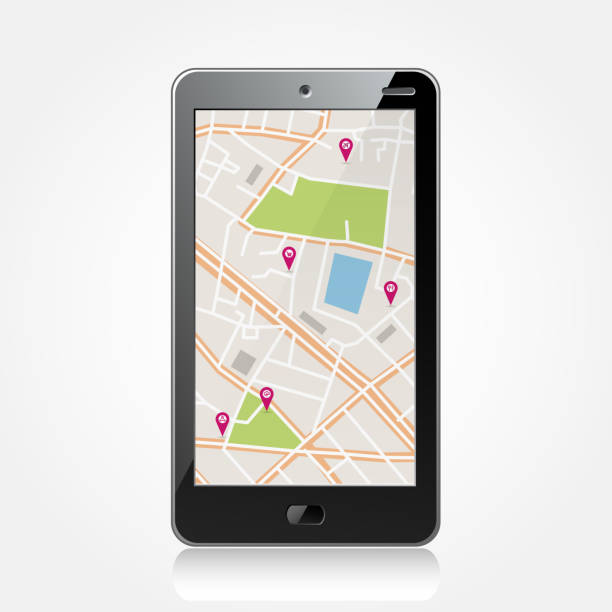 Smartphone with navigator Vector abstract black smartphone with navigator map global positioning system stock illustrations