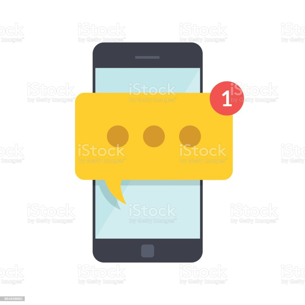 Smartphone with new message on screen. Chat, sms, tweet, instant messaging, mobile messenger concepts for web sites, web banners, printed materials. Flat illustration isolated on white background. vector art illustration