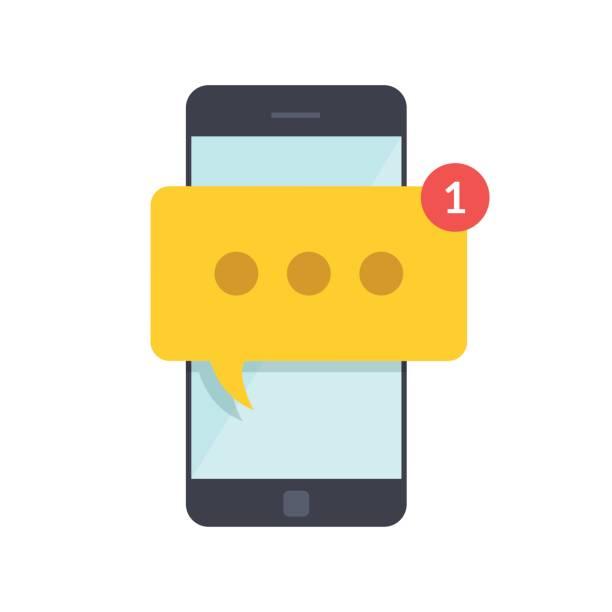 smartphone mit neuen meldung auf dem bildschirm. chat, sms, tweet, instant messaging, mobile messenger konzepte für web-sites, web-banner, drucksachen. flache darstellung isoliert auf weißem hintergrund. - sms stock-grafiken, -clipart, -cartoons und -symbole
