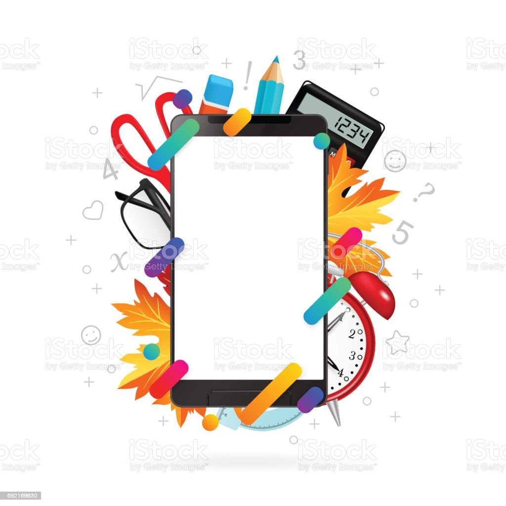 trendy office supplies. Smartphone With Office Supplies And Trendy Gradient Shapes Royalty-free