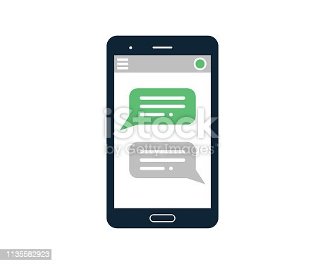 Vector illustration of a smartphone with text messages