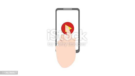 Smartphone with play icon on the screen