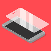 Smartphone with protector glass in isometric style.Vector illustration.