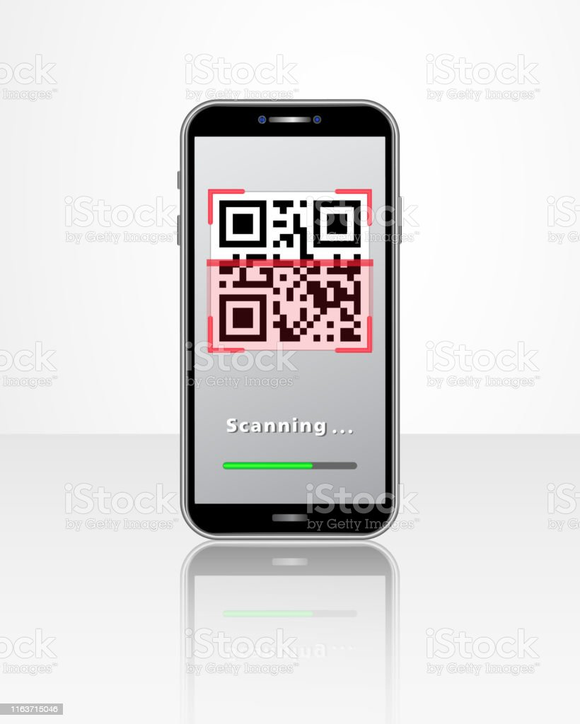 Smartphone With Qr Code Scanner Mobile App And Loading Bar