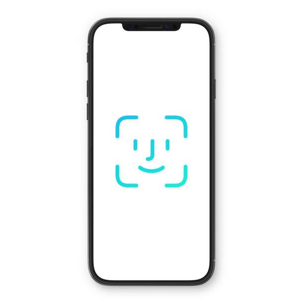 smartphone mit kennwort für gesicht, identifikation-symbol. gesichtserkennung-scan. sicherheitsprozess zu stellen. - wesen stock-grafiken, -clipart, -cartoons und -symbole