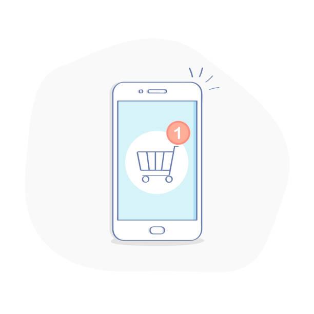 bildbanksillustrationer, clip art samt tecknat material och ikoner med smartphone med shopping cart anmälan, nya inköp, göra en beställning i en online lagra - on demand