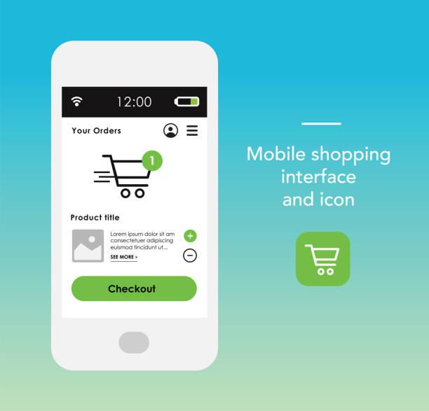 stockillustraties, clipart, cartoons en iconen met smartphone met winkelen interface en pictogram - webshop