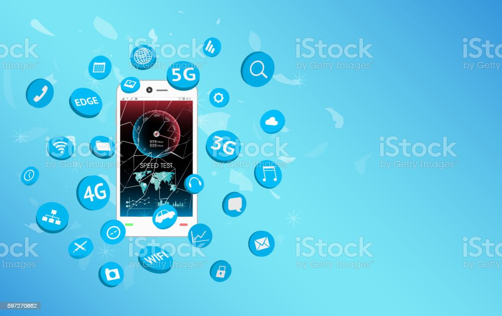 smartphone with speed test screen and apps icon floating smartphone with speed test screen and apps icon floating – cliparts vectoriels et plus d'images de 3g libre de droits