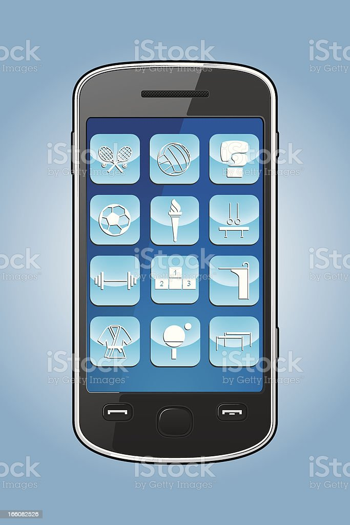 Smartphone with sports app icons royalty-free smartphone with sports app icons stock vector art & more images of badminton racket