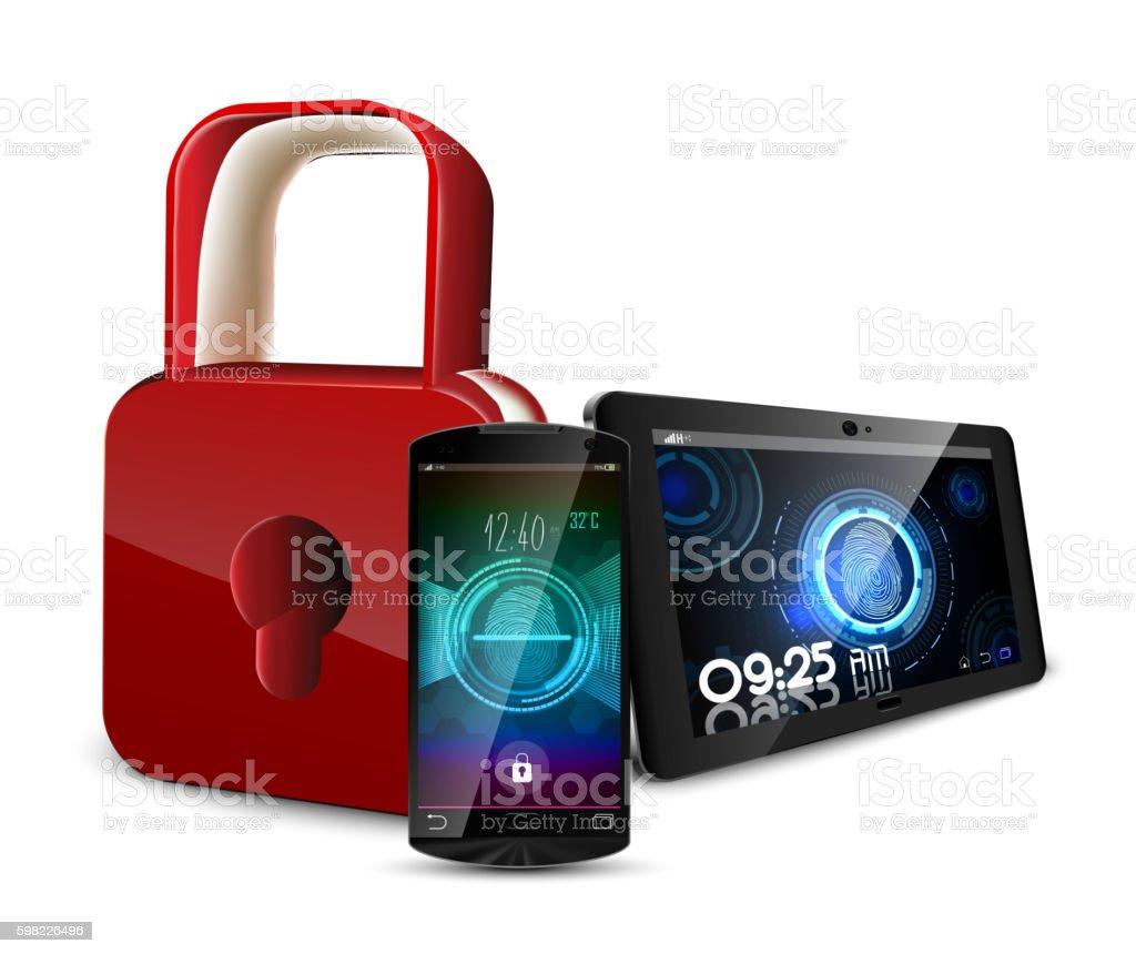 Smartphone with tablet and a fingerprint ilustração de smartphone with tablet and a fingerprint e mais banco de imagens de acessibilidade royalty-free