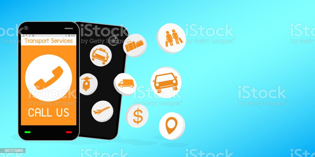 smartphone with transport service application royalty-free smartphone with transport service application stock illustration - download image now