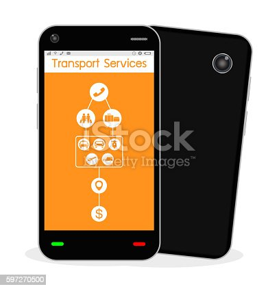 Smartphone With Transport Service Application Stock Vektor Art und mehr Bilder von Abschicken 597270500